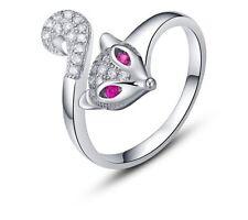 Sterling Silver Swarovski Element Crystal Ruby Gemstone Fox  Adjustable Ring E14