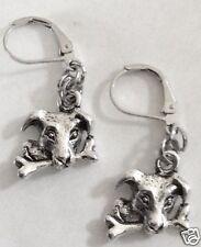 PUPPY  DOG AND BONE  SILVER TONE EARRINGS FOR PIERCED EARS