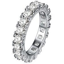 925 Silver Round Topaz Heart Sapphire White Gold GF Women Wedding Bridal Ring