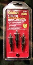 "Allen Spider Mechanical Broadheads 3-Pack 100-Grain 1-1/2"" Diameter Cut #14660"