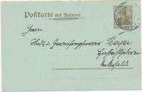 """DT.REICH """"TÜBINGEN / Postamt Nr.1"""" K1 a. 3 Pf Kab.-Deutsches-Reich-GA-Frageteil"""