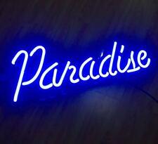 "BLUE PARADISE Neon Sign Light Beer Bar Pub Home Room Wall Decor13""X6"""
