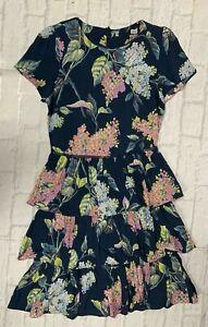 Ladies Oasis Navy Floral Tier Dress Brand New
