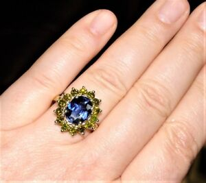 Estate 4.54CT Blue Sapphire(TR) 1.70CT Yellow Diamond 14K cocktail Ring s-8