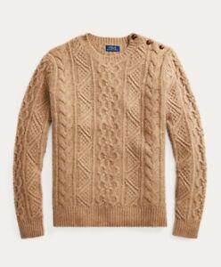 Ralph Lauren Men's Cable-Knit Italian Merino Wool Sweater (Small, Camel Donegal)
