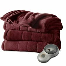 Sunbeam TWIN Size Electric Heated Microplush Bed Blanket Dark Red Soft Warmer ✅