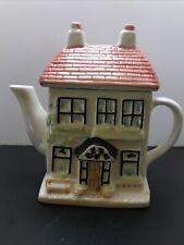 """Tea Shop Teapot Ceramic Cottage House Shape w/ Lid Hand Painted 6.5"""" H Vintage"""