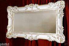 Miroir mural Antique Baroque Or blanc 97x58 pour couloir de bain coiffure