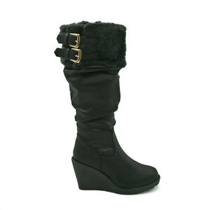 Womens Wedge Heel Knee High Slouch Faux Fur Trim Ladies Winter Snow Boots Size