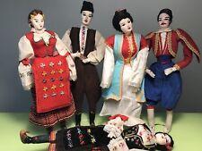 VTG LOT 5 BEAUTIFUL SERBIA & MONTENEGRO ETNO FOLK ART DOLLS IN HANDMADE CLOTHS