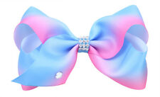 Blue Rainbow Hair Bows Girls Diamante Hair Clip Accessories 12cm WSX34