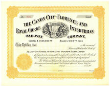 Canon City Florence and Royal Gorge Interurban Railway. Stock Certificate