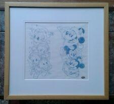 MIKE ROYER Mickey & Donald con nipoti Natale Genuine BELLE ARTI DISEGNO INCORNICIATO