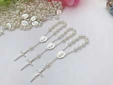 50 Mini Rosary Ivory Color Baptism Favors  Silver Plated Communion Favors