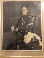 Original Framed WW1 / WW2 Officer's Portrait By Roshy 1920