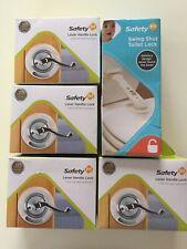 4 Safety 1st Lever Handle Locks #48400 Plus Swing Shut Toilet Lock #48517 New