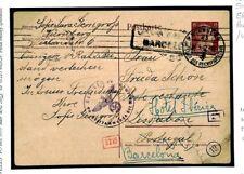 F358 Germany WW2 Censor Card UNDERCOVER Forwarded Lisbon 1942 Barcelona Spain