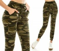 Women's Camo Jogger Sweat Pants Military Army Green Drawstring Lounge Pockets