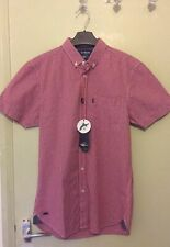 Mens Red White Check Regular Fit Short Sleeve Shirt Le Shark Size Small