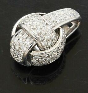 Chimento heavy 18K white gold 1.15CT VS1/F diamond cluster knot pendant