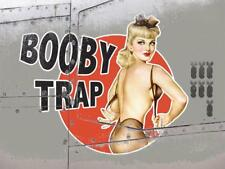 Booby Trap Vintage War Aeroplane Classic Pin-up Small Metal/Steel Wall Sign