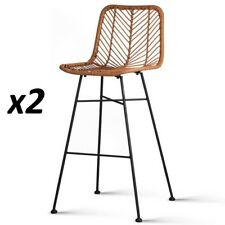 2x Outdoor Bar Stools Furniture Rattan Barstool Dining Chair PE Wicker Brown 923