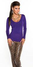 Basic Langarm Sweatshirt Shirt Pulli Pullover V Ausschnitt  Lila 34 36 38 S M