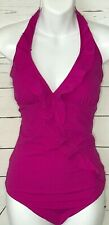 Spanx Love Your Assets XL swimsuit hot pink one piece tank halter ruffles bra