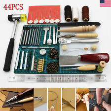 44PCS Leather Craft Tools Hand Stitching Sewing Stamping Set Saddle Making Tools