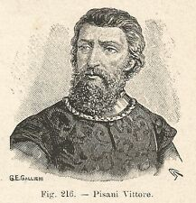 B1024 Vittore Pisani - Stampa Antica del 1929 - Xilografia - Engraving