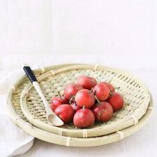 2xNatural Bamboo Wicker Bread Fruit Basket Hamper Display Trays for Picnics