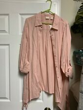 Blouse - Button Front - Westbound - Peach - Long Sleeve roll up - Assymetric Hem