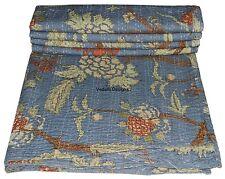 Indian Handmade Floral Print Queen Cotton Kantha Quilt Bedspread Throw Blanket