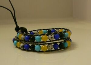 Dbl-Wrap Beaded on Leather Turquoise,Onyx,Lapis,Yellow Jade,Dalmation, Bracelet