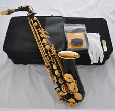 Top new Black Eb Alto saxophone sax Abalone shell key gold bell high F# case