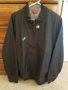 Detroit Lions Reebok Officially Licensed Black Large Half zip Insulated Jacket!