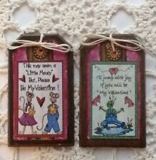 5 Handcrafted Wooden Valentine Day Ornaments,HangTags,GiftTa gs Set/3