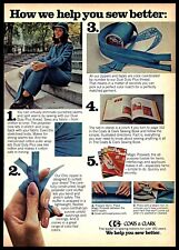 1974 Coats and Clark Sewing Supplies Blue Thread Zipper Vintage PRINT AD 1970s