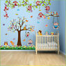 Owl Monkey Animal Wall Sticker Jungle Zoo Tree Nursery Baby Kids Room Decal Art