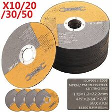 "20 30 50X 115MM 4.5"" THIN METAL CUTTING BLADE DISC STAINLESS STEEL ANGLE GRINDER"