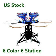 US Stock, 6 Color 6 Station Manual Screen Printing Machine T-Shirt Print machine