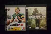 PS3 Complete Untested Lot of 2 Games Madden '09 Call of Duty Modern Warfare 4
