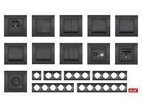 EL-BI ZENA Design Schalter Steckdose anthrazit schwarz - Programm Serie