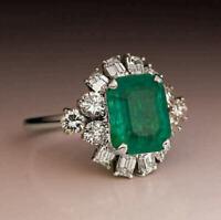 2Ct Emerald Cut Green Emerald Women's Engagement Ring 14K White Gold Finish
