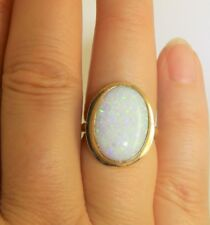 9CT CABOCHON OPAL RING 9 CARAT YELLOW GOLD SINGLE STONE  RING SIZE M