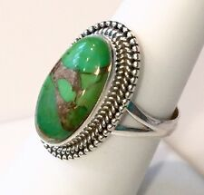 Gorgeous Green Copper Turquoise Solid Sterling Silver Ring 5.4g Size 6.75