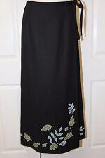 Garnet Hill Black w/ Leaf Appliqe Wool Long A-Line Faux Wrap Skirt Sz 6