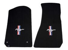 1994-2004 Mustang Classic Loop 2pc Black Floor Mats - Running Horse & Bars Logo