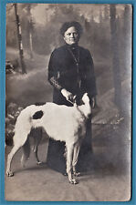 rppc photo woman & barzoi greyhound dog Russian wolfhound chien lévrier 1913