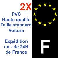 2 Stickers autocollant vinyle pour plaque d'immatriculation F France Noir Neuf